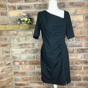 CALVIN KLEIN Pleated Asymmetric Knit Dress SZ-10